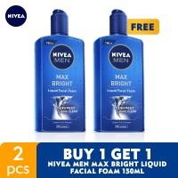 Harga buy 1 get 1 nivea men max bright liquid facial foam 150ml fs | Pembandingharga.com