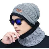 Topi Kupluk Wool Rajut Musim Dingin Winter With Scraf 001