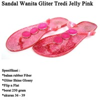 Sandal Branded Wanita Tridi Gliter pink
