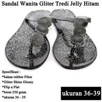 Sandal Branded Wanita Tridi Gliter hitam