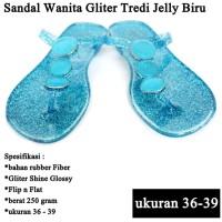 Sandal Branded Wanita Tridi Gliter biru
