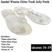 Sandal Branded Wanita Tridi Gliter putih