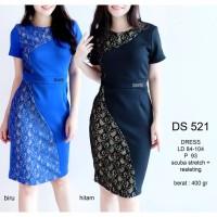 Dress Wanita Brukat Lace Midi Scuba Bodycon Sepan Premium Murah