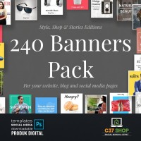 240 BANNERS PACK | Facebook Instagram Twitter Template