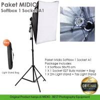 Paket Studio Foto Midio A1 Light Stand 2M + 1 Socket E27 + Softbox