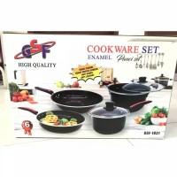 Panci Wajan Set Enamel GSF Cookware Set Tutup Kaca GSF-1831 / GSF1831