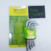 Kunci L Bintang Standart Long sedang ONG HEX KEY Set 9pc Nankai