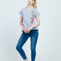 Callie Cotton - Stripe Embroidery Shirt