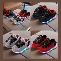Sepatu Anak Lampu Led Unisex Fancy Black Ropes Kiddos (ZH-SS033)