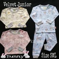 Velvet Junior SML Setelan Panjang Baju Tidur Bayi/Piyama warna 3-12bln
