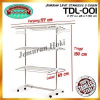 Jual STOK TERBATAS Jemuran Lipat Stainless Steel 3 Susun Limited