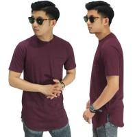 Baju Pria Longline T-Shirt Basic Dark Maroon