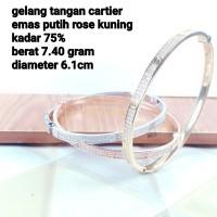 gelang cartier emas kubing putih rosegold kadar 75%