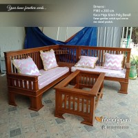Kursi Tamu Minimalis Kayu Jati Model Sudut L, Sofa Kursi Tamu Jati