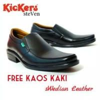 Sepatu kickers pantofel kulit steven swedia kerja kantor pria