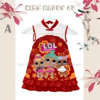 Dress Fahion Anak Perempuan Cheongsam LOL Doll Merah