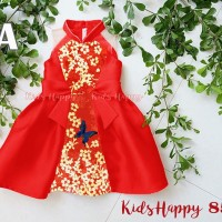 Dress Fashion Anak CNY Imlek Kupu Bunga Merah