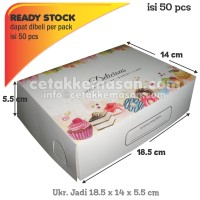 Box Dus Kemasan Roti Kue Donat (Kecil) 18.5x14x5.5 cm 1pack isi 50 pcs