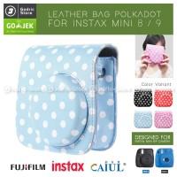 Fujifilm Leather Bag Polaroid Instax Mini 8 & 9 Tas Polkadot Case