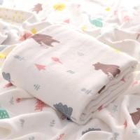 Kain Selimut Bamboo Muslin Blanket Baby Hoppipollakids - Mountain Bear