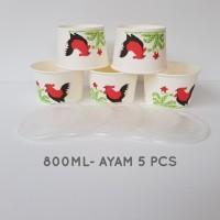 MANGKOK KERTAS GAMBAR AYAM 800 ML JAMAN NOW PER 5 PCS / A800ML5