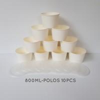 MANGKOK KERTAS PUTIH POLOS 800 ML PAPER BOWLS PER 10 PCS - POLOS10