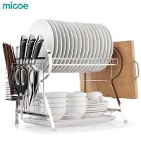 MICOE Rak Dapur 2 tingkat Dish Drainer Peralatan Makan Rak