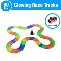 Mainan Anak Mobil Glow In The Dark Glowing Tracks Rail Car 80 Pcs