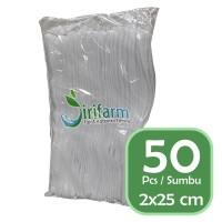 Jirifarm Kain Flanel Warna Putih Ukuran 2x25 cm (50 pcs)