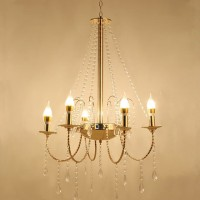 Lampu Gantung Crystal Rain Chandelier 6 Head Lampu LED Dekorasi Pesta