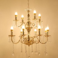 Lampu Gantung Gold Metal 8+4 Head Candelabras Chandelier Lampu LED