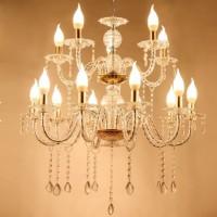 Lampu Gantung Gold Acrylics 10+5 Head Candelabras Chandelier Lampu LED