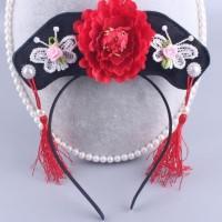 Aksesoris Fashion Rambut Anak Bando CNY Kupu kupu Bunga Merah