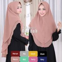 Hijab Jilbab Khimar Syari Ceruti Premium Raudah 2 Layer Kancing Murah