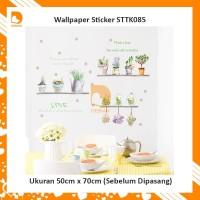 Wallpaper Dinding Wall Sticker Kecil Motif Pot Bunga STTK085