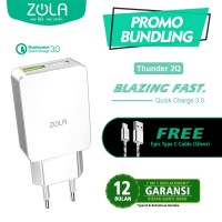 ZOLA Thunder 2Q Qualcomm Quick Charge 3.0 USB Charger 2 Output - White