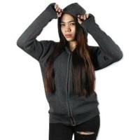 Sweater Wanita Zipper Finger Hodie Abu Tua Rajut Katun Tebal