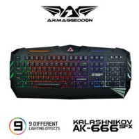 AK-666sfx Spill Proof Gaming Keyboard with 9Lighting by Armaggddon