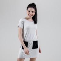 Flies - Daily dress with pocket (White) A15262F - Abu-abu Muda, M