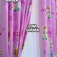 gorden hordeng karakter frozen pink tirai jendela pintu minimalis