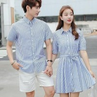 Couple dress kemeja Stripe salur Ikari FEN Bahan katun salur fit to L