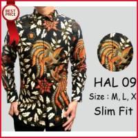 Harga baju kemeja batik slim fit pria lengan panjang casual formal | Pembandingharga.com