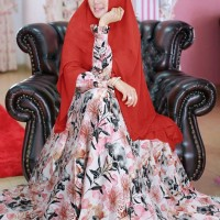 Gamis Monalisa - Syari Mafaza Red Plus Hijab Best Quality
