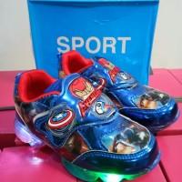 sepatu lampu led nyala anak cowo avengers hitam biru impor murah promo