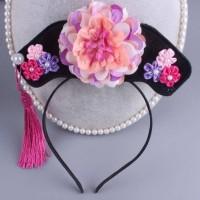 Aksesoris Fashion Rambut Anak Bando CNY Bunga Tiga Rumbai Pink Ungu