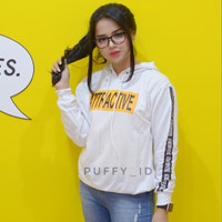 sweater attractive hodie white atasan wanita