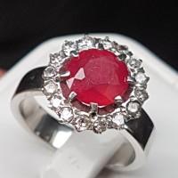 C792 cincin perak silver ruby rubi & intan berlian diamond no 14/6.5