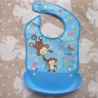 Celemek Bahan PEVA Anti Air Bayi Apron Slabber Baby Bib With Pocket