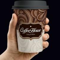 Paper cup / gelas kertas / cup kopi 8 oz Design Coffee House coklat
