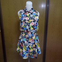 terusan abstract collar colourful dress